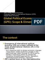 Global Political Economy (GPE) Scope & Dimension