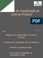 Sistemas de Classificação do leite ao produtor