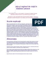 Alimentaţia şi regimul de viaţă în diabetul zaharat