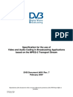 DVB A001 Specification for the Use of Video and Audio Coding in Broadcasting Applications Based on the MPEG-2 Transport Stream