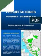 Resumen Precipitaciones Pluviales NOV-DIC 2011