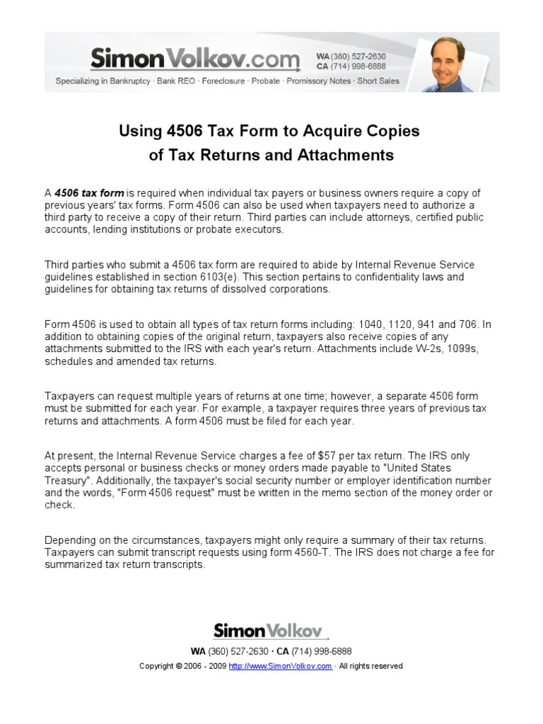 Using 4506 Tax Form To Acquire Copies Of Tax Returns And Attachments