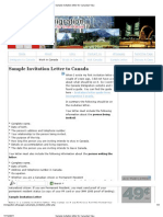 Sample Invitation Letter for Canadian Visa