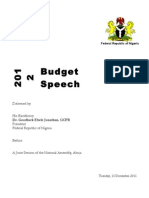 Jonathan s 2012 Budget Speech Before the National Assembly