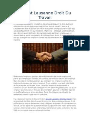 Avocat Lausanne Droit Du Travail Avocat Discrimination