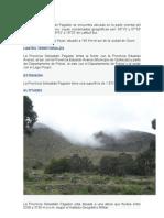 La Provincia Sebastián Pagador se encuentra ubicada en la parte oriental del Departamento de Oruro