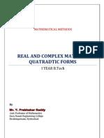 Unit 3 (b)RealAndComplexMatricesQuadraticForms