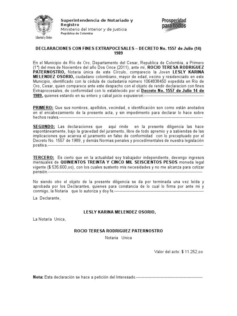 Declaracion Extrajuicio Nuevo Formato