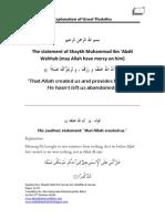 "Excerpts of the Explanation of ""Usool Thalatha"" of Shaikh Saleh al-Fawzan -Translated by Abu Sulaymaan Muhammad ibn Baker"