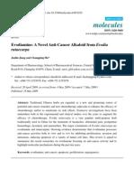 Evodiamine a Novel Anticancer Alkaloid From Evodia Rutaecarpa
