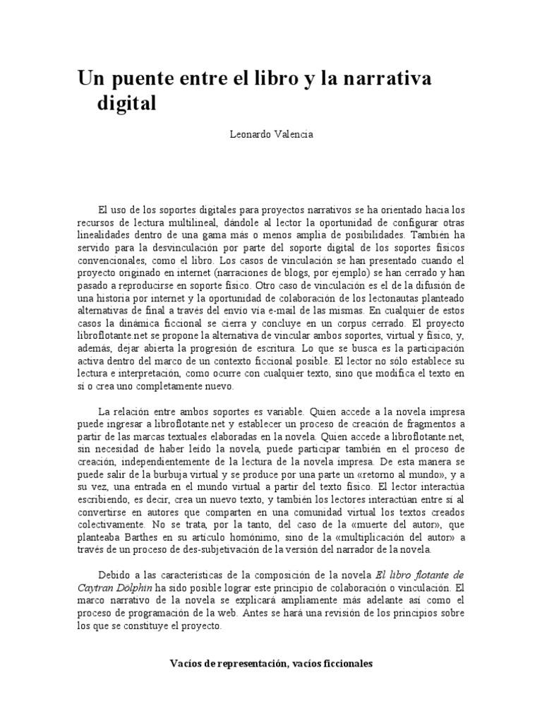 Un Puente Entre El Libro y La Narrativa Digital