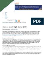 Steps to Install SQL Server 2008 - SQL Server Performance