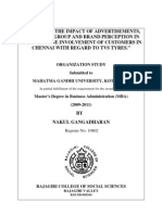 A Study on the Impact of Advertisements, Reference Group and Brand Perception in the Purchase Involvement of Customers in Chennai With Regard to Tvs Tyres