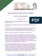 Burma Democratic Concern (BDC) strategy 2012 for democratisation in Burma