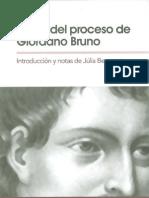 Benavent Julia Actas Del Proceso de Giordano Bruno