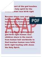 Become Part of the God Teaches Jesus the Holy Spirit for the Whole Human Race Birth Right