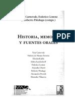 Historia, Memoria y Fuentes Orales
