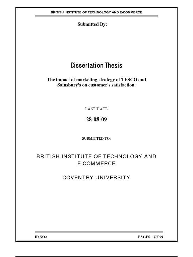 Dissertation marketing strategy