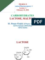 Lect 2 - Lactose, Maltose