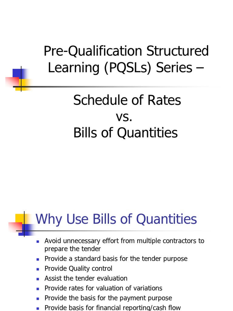 Bill of qty vs schedule of rates specification technical standard bill of qty vs schedule of rates specification technical standard general contractor altavistaventures Image collections