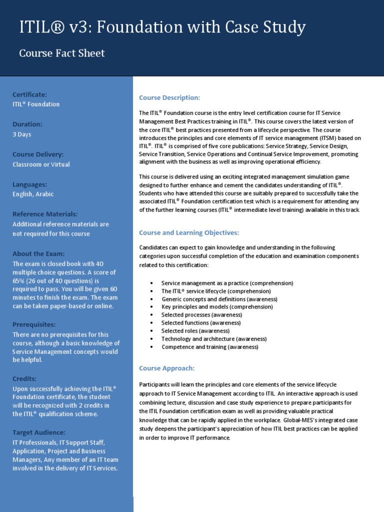 Itil Foundation Fact Sheet Itil It Service Management