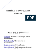 Presentation on Quality Awards
