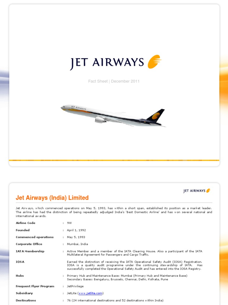Jet Airways Factsheet | Airlines | Airport Lounge