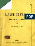 Dazet Georges - La Banque de France - Fin Du Privilege (1888)