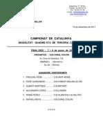 Final catalana del quadre 47-2 de 3a., seu Societat Coral Colon, 7 i 8 de gener