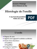 Histologie de l'oreille 2011-2012