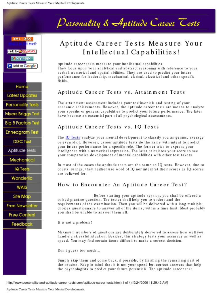 aptitude career tests