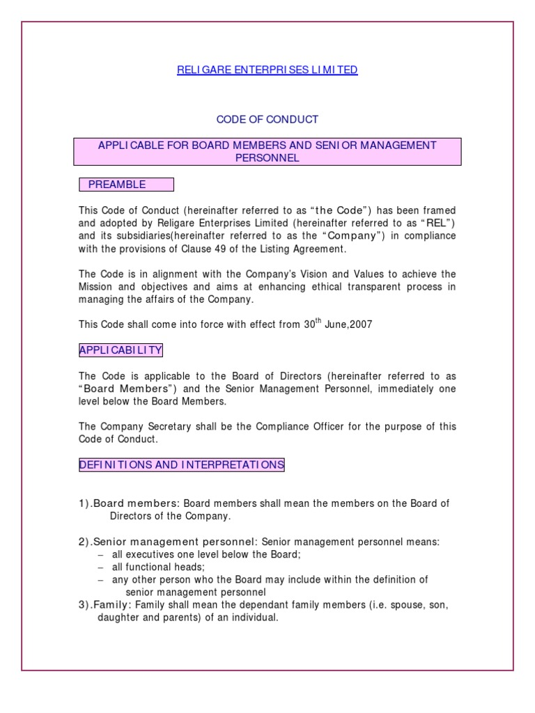code of conduct | insider trading | board of directors
