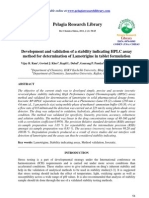 Development and validation of a stability indicating HPLC assay method for determination of Lamotrigine in tablet formulation