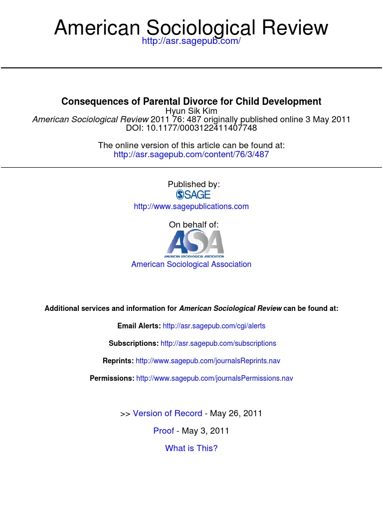 consequences of parental divorce for child development
