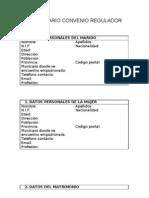 Formulario para la redacción del convenio regulador
