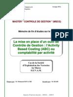 Contrôle de Gestion  l'Activity Based Costing (ABC) ou comptabilité par activité.Cas de la Société d'Exploitation des Verreries Au Maroc S.E.V.A.M.