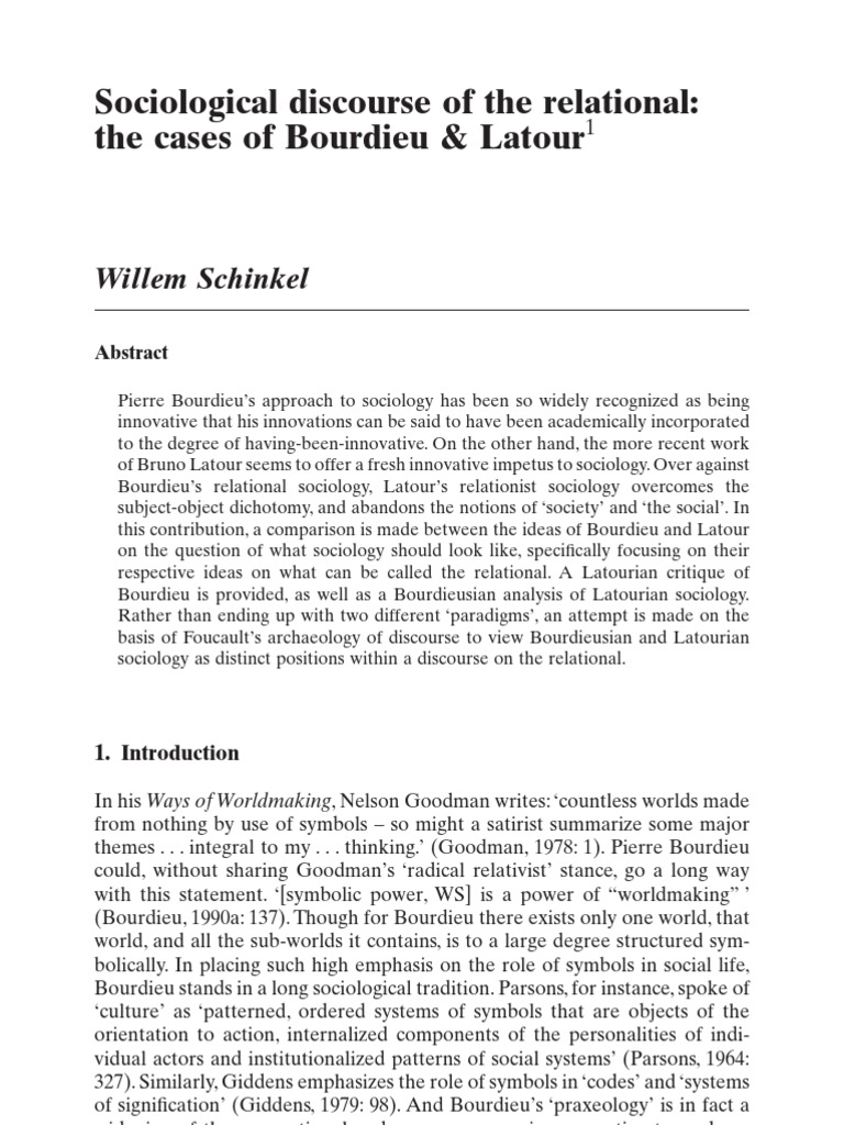 The Relational Bourdieu And Latour Schinkel Sociology Alfred