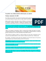 Bharatsite_Sept 29, 2008_No Positive Cues, Indian Markets Outlook Grim, Say Analysts