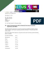 CACTUS' comments on the 2011 community TV audit