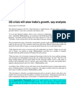 Newstrack_Oct 01, 2008_US Crisis Will Slow India's Growth, Say Analysts