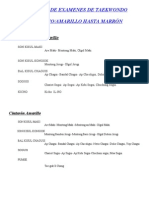 Programa de Examenes de Taekwondo Cintos de Color