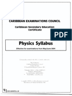 Physics CSEC Syllabus (2002)