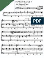 Danza Hungara 5 Para Viol Piano