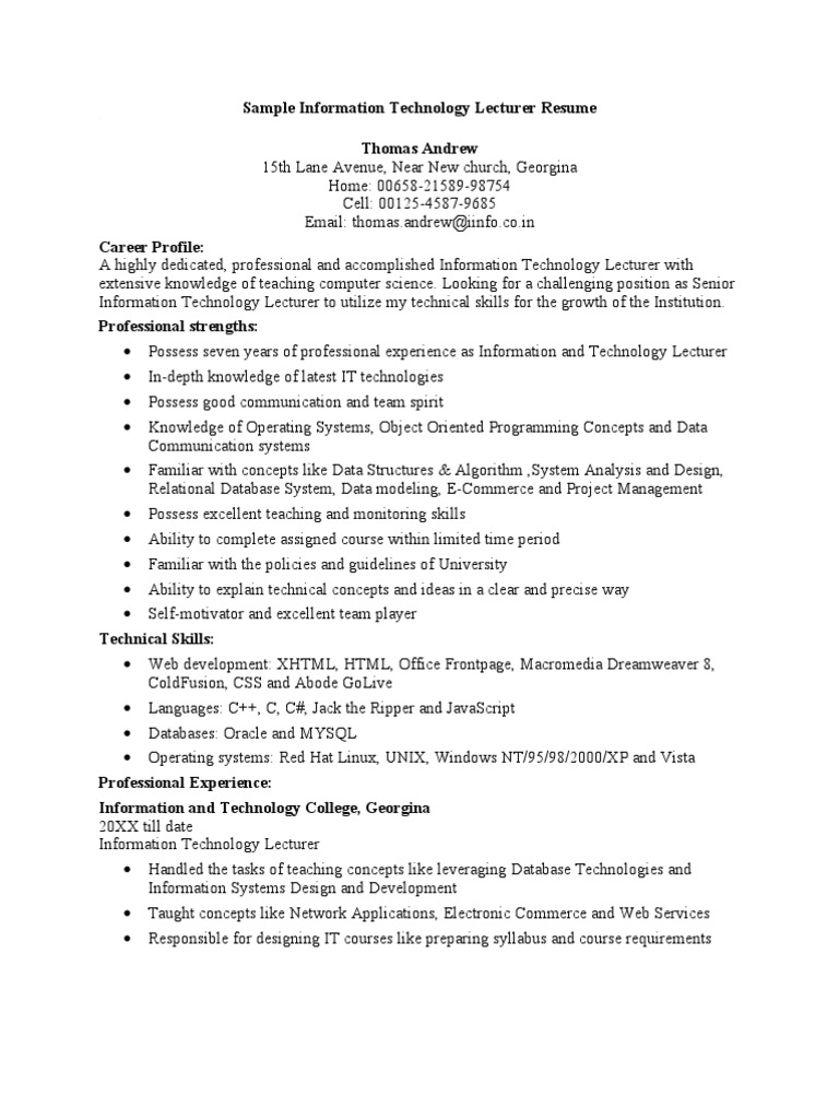 sample information technology lecturer resume microsoft access - Chassis Engineer Sample Resume