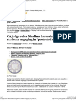 """CA judge rules Muslims harassing Jewish students engaging in """"protected speech"""""""