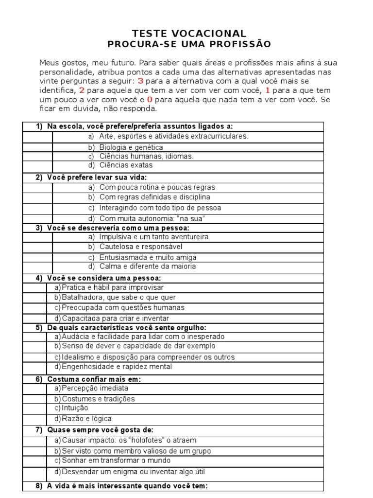 teste vocacional para imprimir