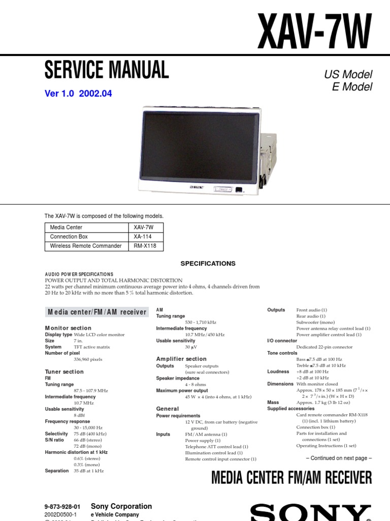 sony xav-7w Service Manual and Schematic | Loudspeaker | Electrical ...