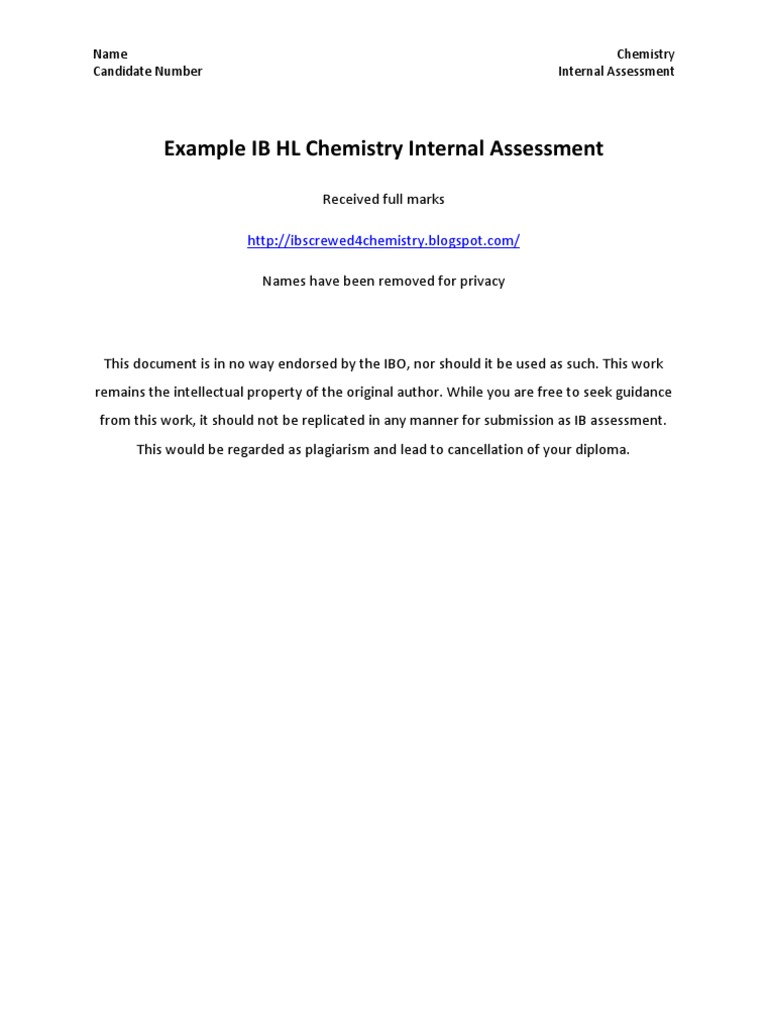 chemistry internal assessment Gce chemistry edexcel advanced subsidiary gce in chemistry (8ch01) first examination 2010 sample assessment materials september 2007 edexcel gce e-spec your free e-spec 7klv vshfl¿fdwlrq frphv zlwk d iuhh h 6shf (gh[fho¶v hohfwurqlf yhuvlrq ri wkh vshfl¿fdwlrq.