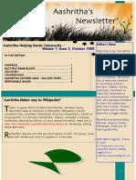 Aashritha Newsletter Oct08