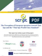 TEC II SCRIPT Project Report the Perception of European Operators Toward Thai Spa Standard Apr11